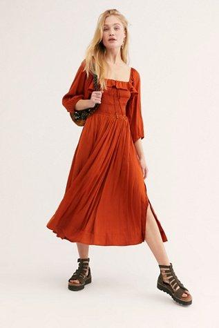 Shiny Oasis Midi Dress