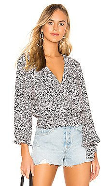 Long Sleeve Wildflower Ditsy Ruffle Edge Wrap Top                     1. STATE