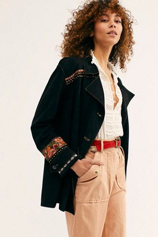 Embroidered Suede Shirt Jacket
