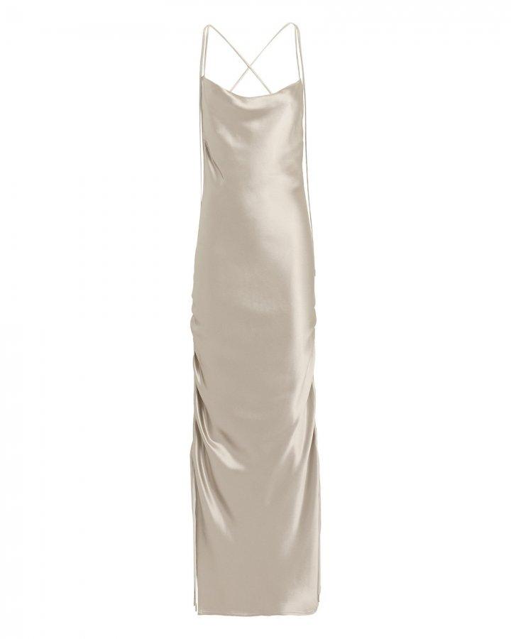 Yasmine Platinum Silk Gown