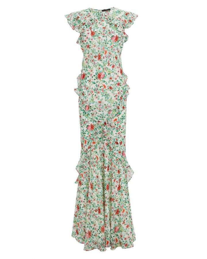Tamara Floral Silk Ruffle Gown