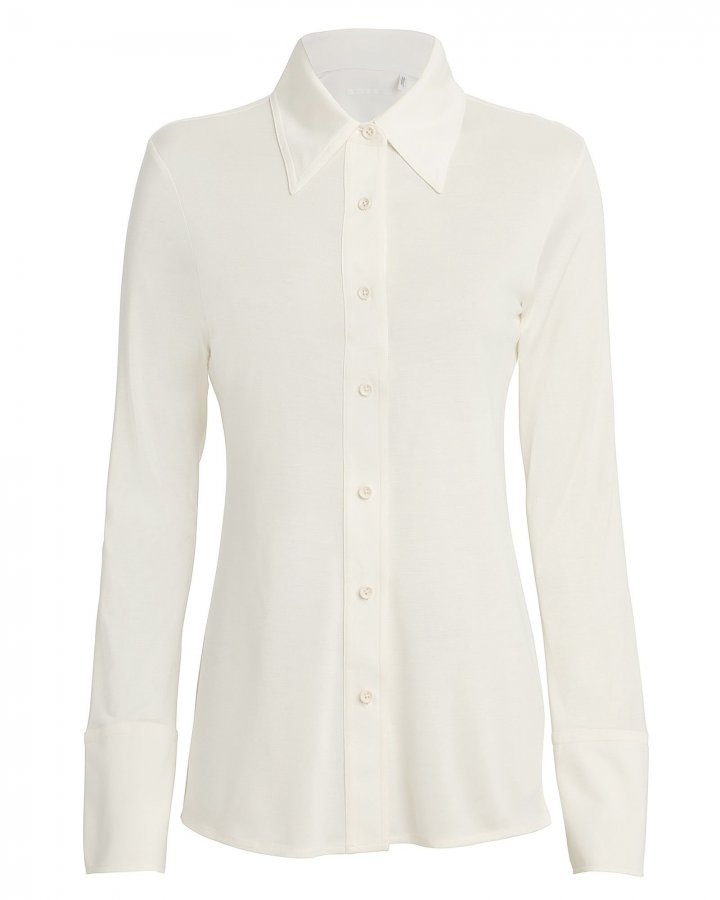 Silk Jersey Button Down Top