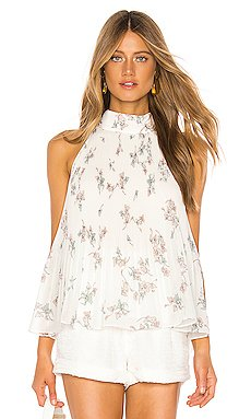 Halter Tie Pleated Floral Belle Blouse                     1. STATE