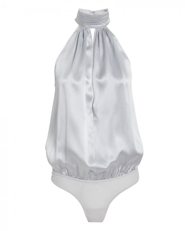 Silk High Neck Keyhole Bodysuit
