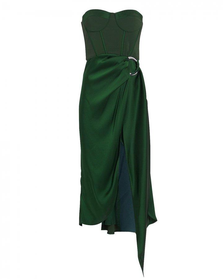 Strapless Bustier Midi Dress