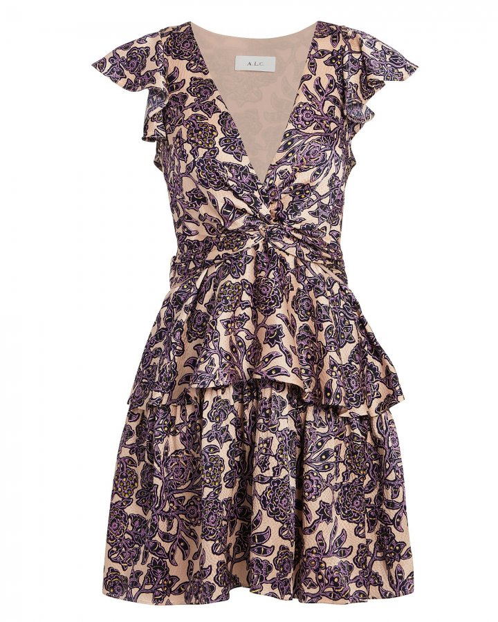 Viera Silk Ruffled Dress