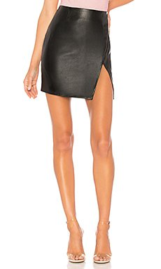 Trinity Faux Leather Skirt                     superdown