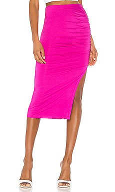 Tiffani Ruched Midi Skirt                     superdown