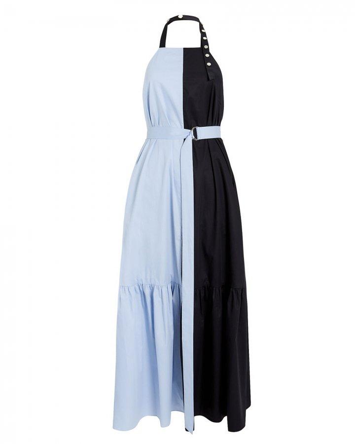 Tech Poplin Colorblock Halter Dress