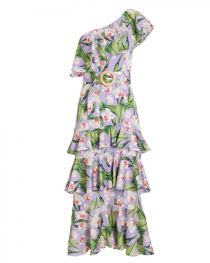 One Shoulder Belted Ruffle Dress