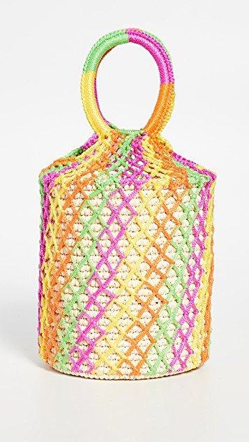Neon Straw Netted Bucket