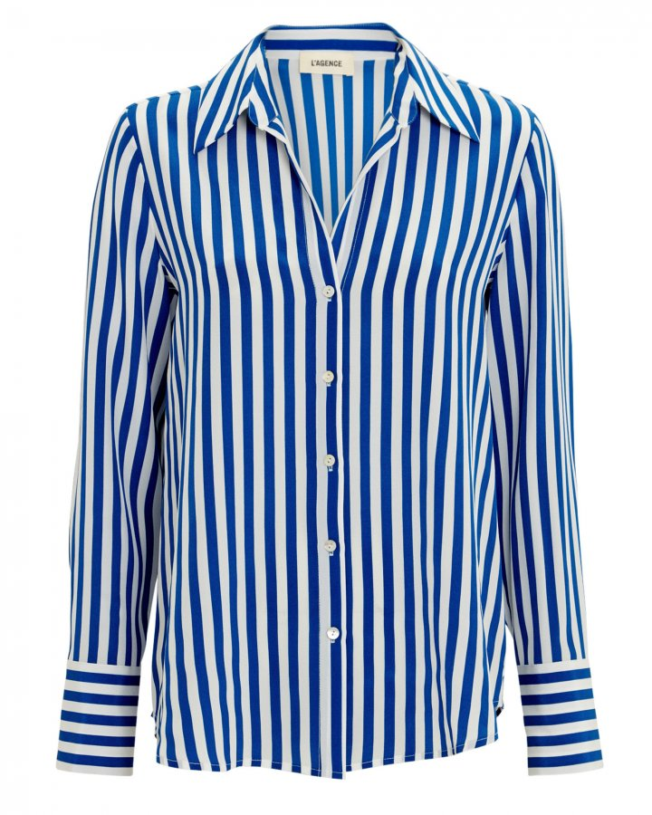 Brielle Striped Silk Blouse