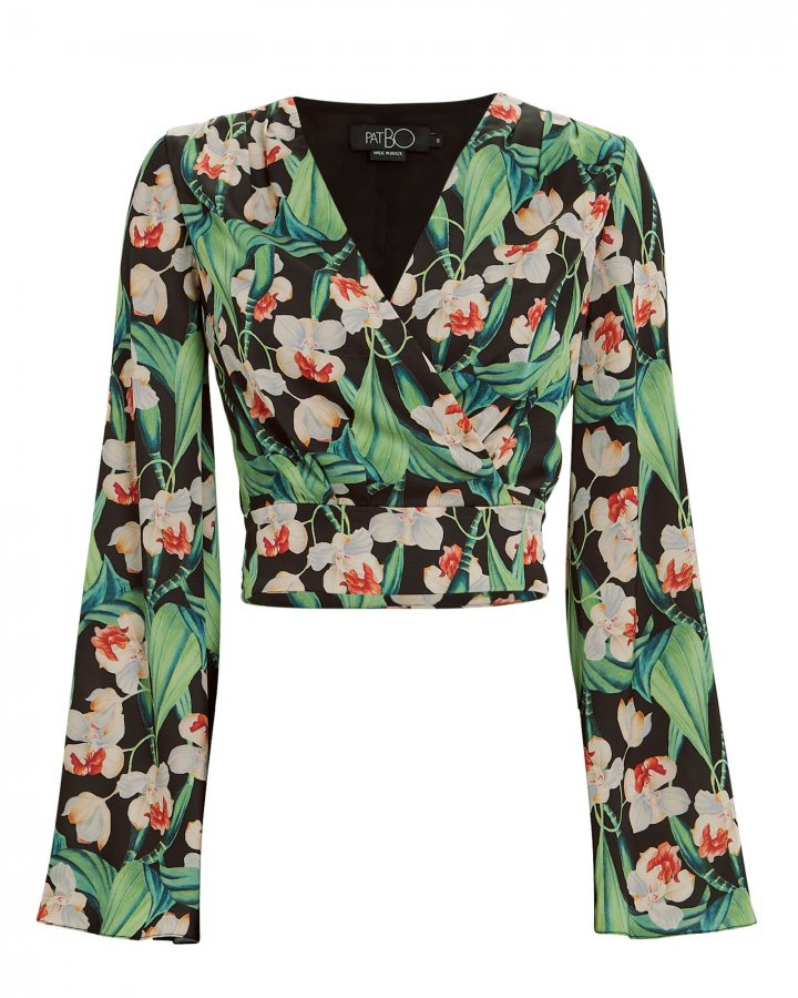 Tropical Wrap Cropped Blouse
