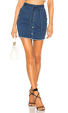 Debbie Belted Denim Skirt                     superdown
