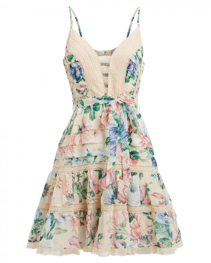 Verity Scalloped Silk Floral Dress