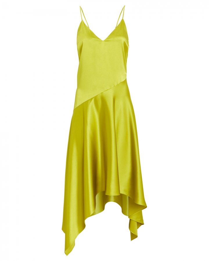 Asymmetric Silk Slip Dress