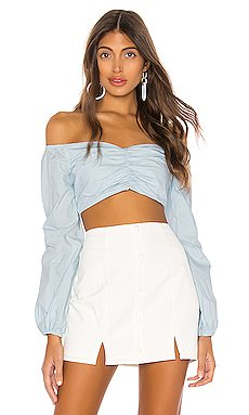 Macy Balloon Sleeve Top                     superdown