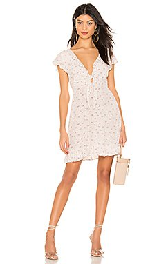 X REVOLVE Jasmine Petal Cutaway Mini Dress                     AUGUSTE