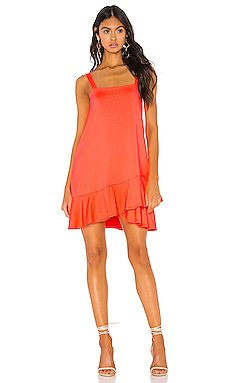 Crossover Ruffle Wide Strap Dress                     Susana Monaco