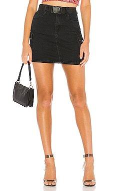 Leighton Belted Denim Skirt                     superdown
