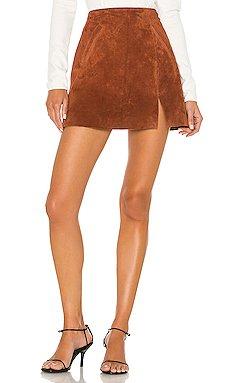 Dried Tobacco Suede Mini Skirt                     BLANKNYC