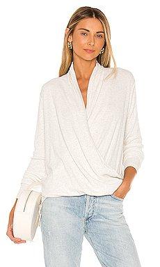 Heathered Rib Surplice Sweater                     Bobi