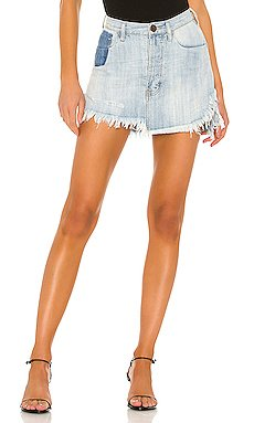 Vanguard Mid Rise Relaxed Denim Mini Skirt                     One Teaspoon