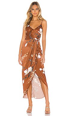 St Lucia Tie Front Draped Midi Dress                     Shona Joy