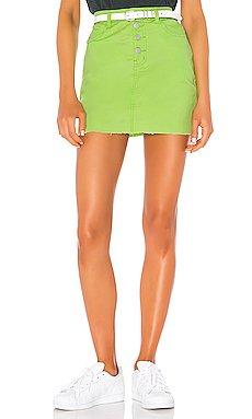 Alix Distressed Denim Skirt                     superdown