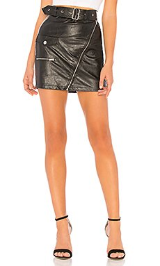 Addy Faux Leather Moto Skirt                     superdown