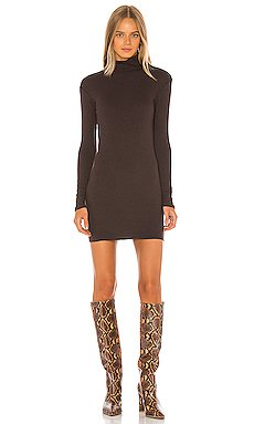 Rib Turtleneck Mini Dress                     Enza Costa