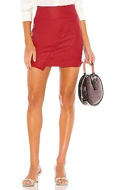 X REVOLVE Vegan Leather Wrap Skirt                     David Lerner