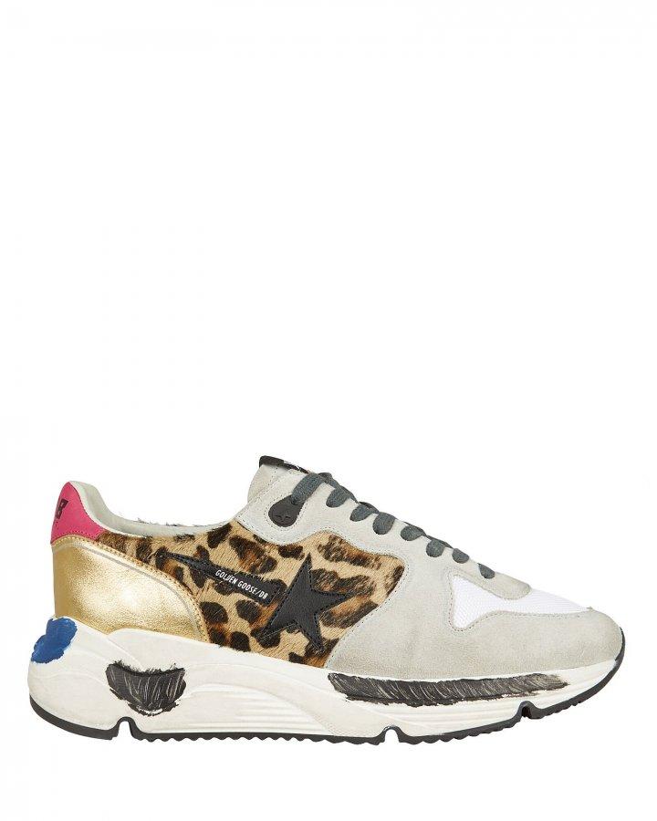 Running Sole Leopard Calf Hair Sneakers