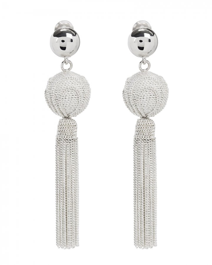 Silver Chain Tassel Earrings