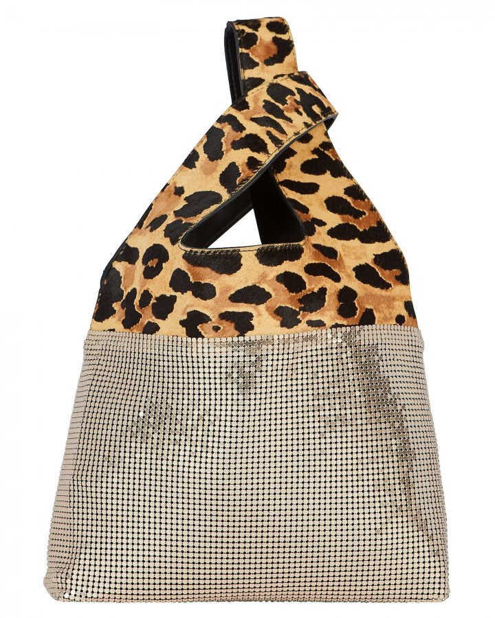 Leopard Embellished Leather Shopper