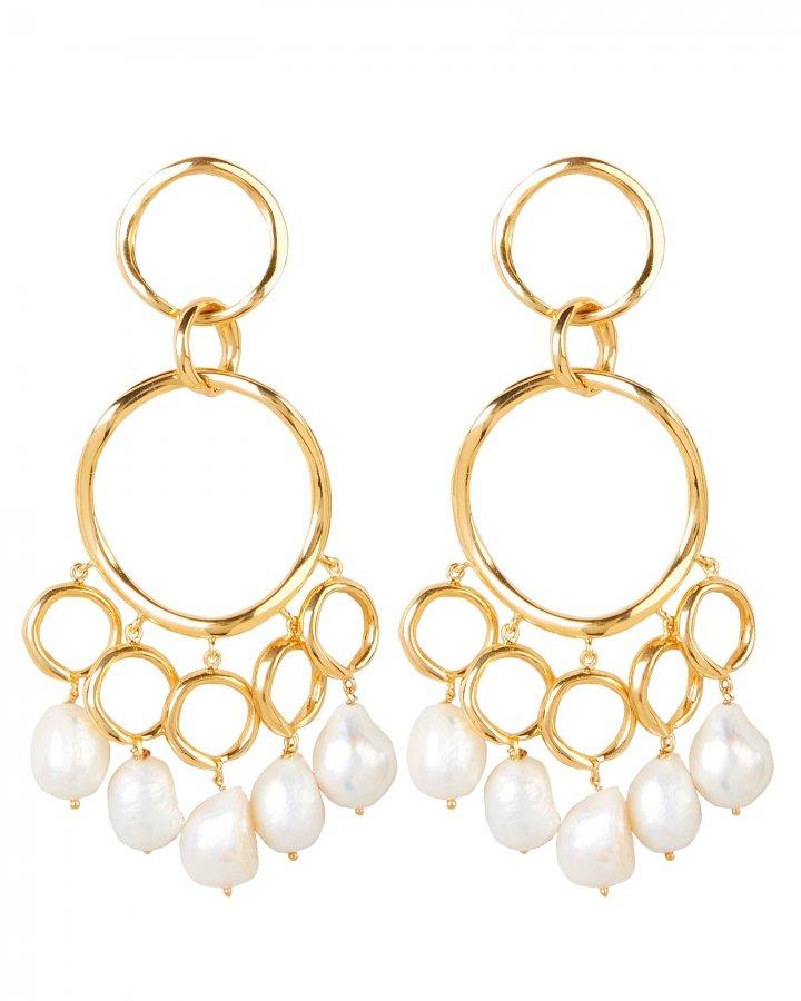 Feminine Waves Pearl Statement Earrings