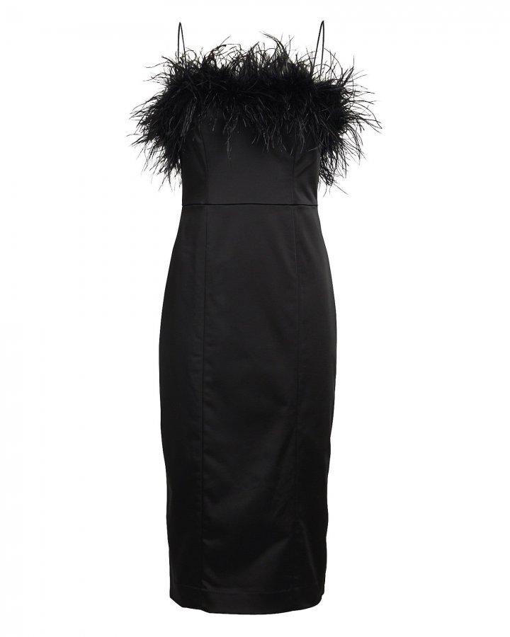 Lilya Feather-Trimmed Midi Dress