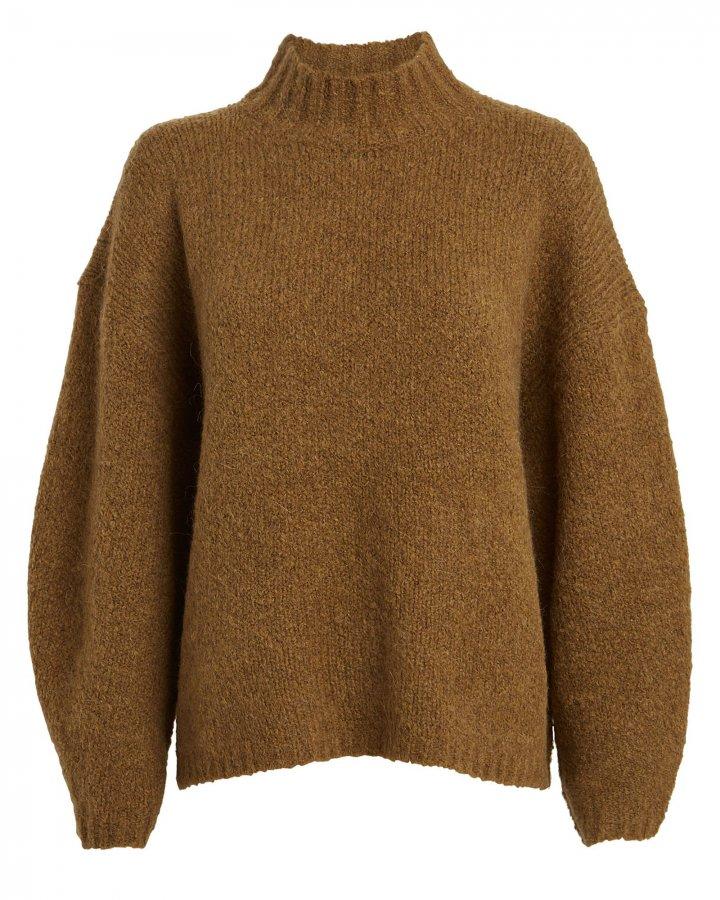 Oversized Mock Neck Bouclé Sweater