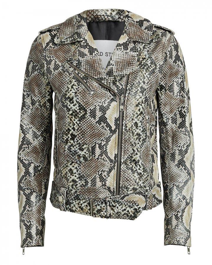 Python-Printed Leather Moto Jacket