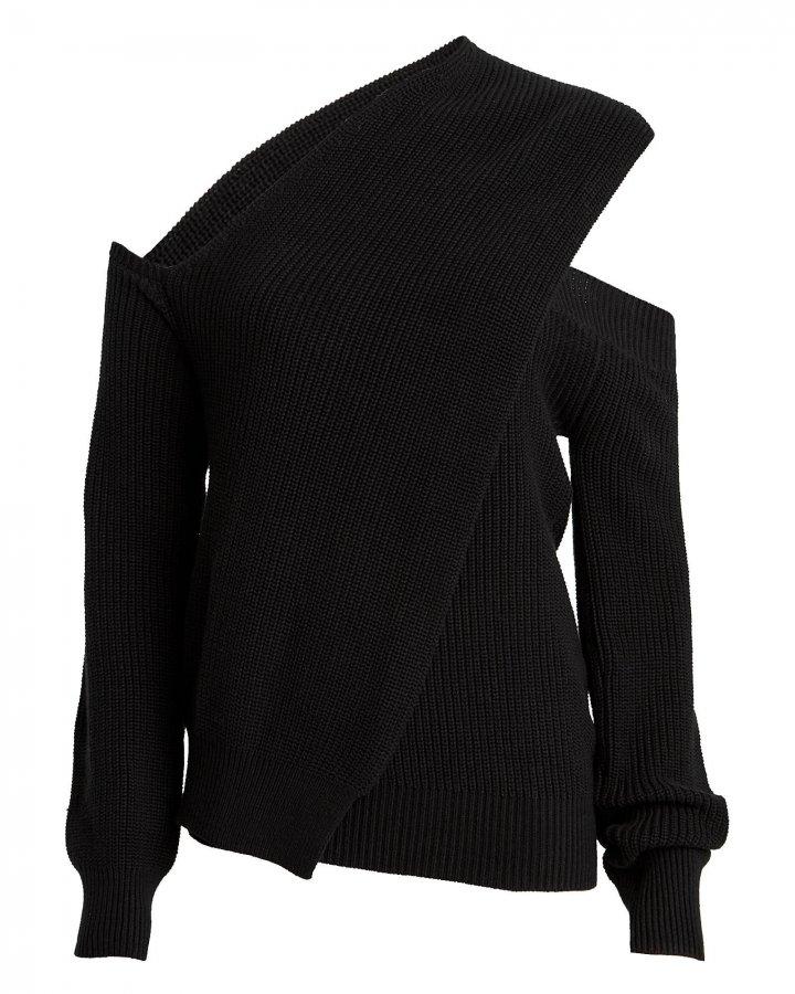 Juliet Ribbed Cold-Shoulder Sweater