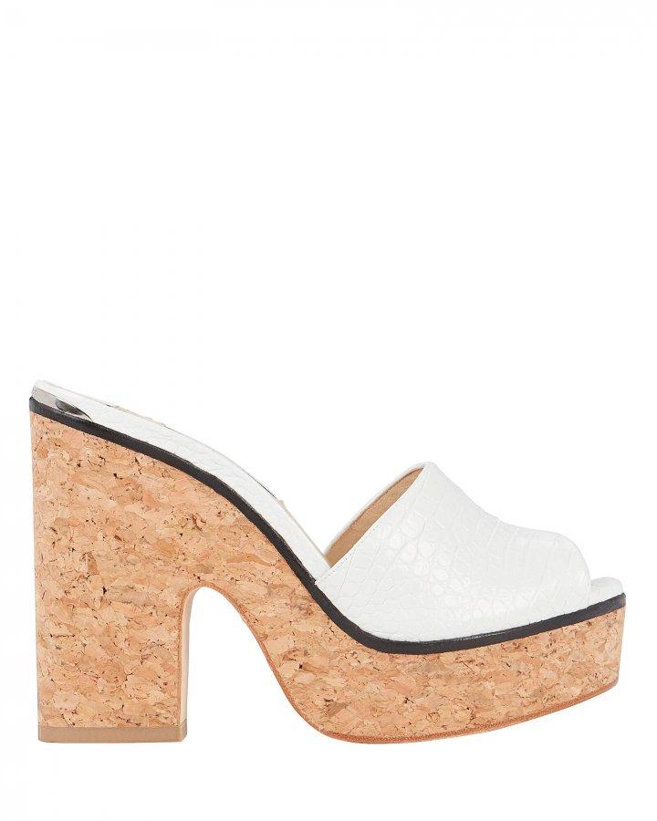 Deedee Croc-Embossed Platform Sandals