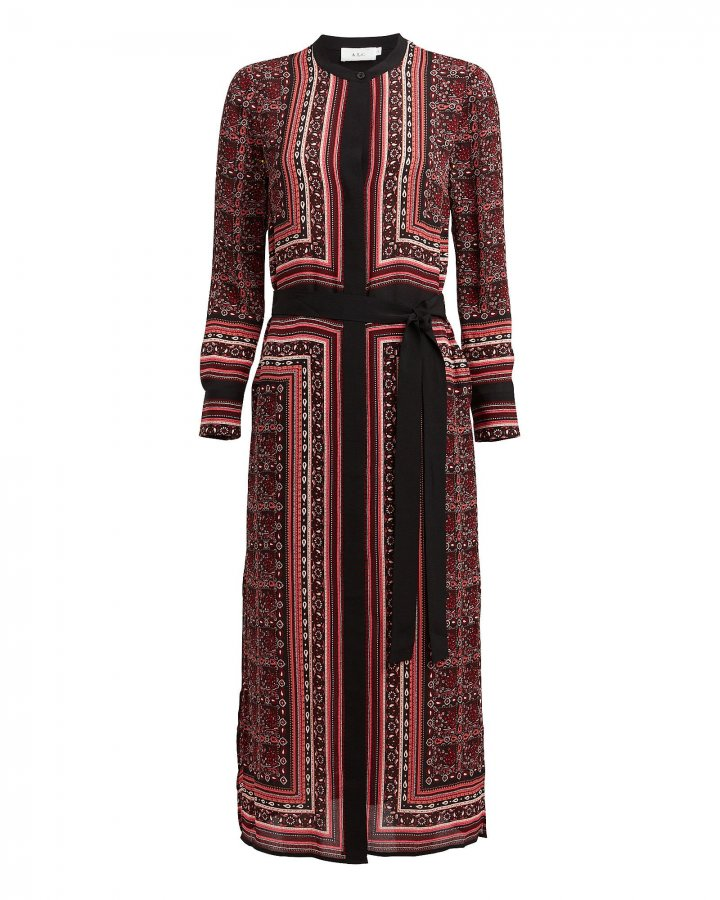 Isaacs Paisley Silk Chiffon Dress