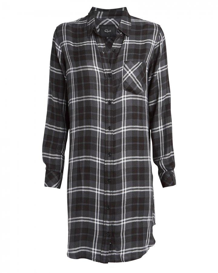 Bianca Metallic Plaid Shirt Dress