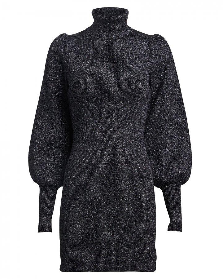 Audrey Lurex Turtleneck Sweater Dress