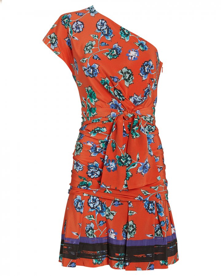 Printed One Shoulder Gathered Silk Dress