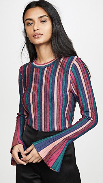 Metallic Stripes Bell Sleeve Top