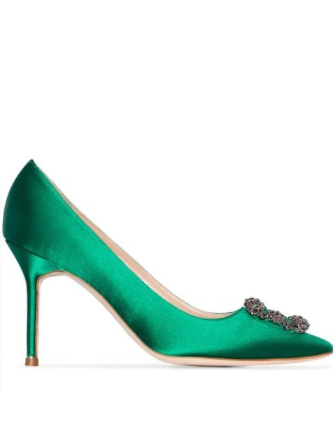 Manolo Blahnik Green Hangisi 90 Satin Pumps - Farfetch