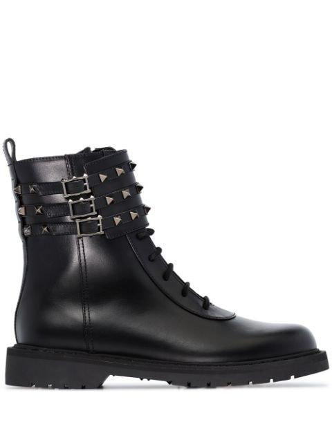 Valentino Valentino Garavani Rockstud Flat Combat Boots - Farfetch