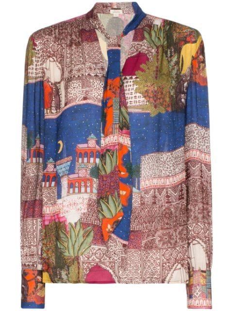 Chufy Camel Printed Tie V-neck Blouse - Farfetch