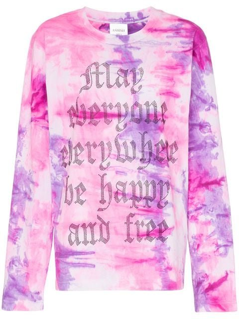 Ashish x Browns May Everyone Everywhere Be Happy And Free Long Sleeve t-shirt - Farfetch